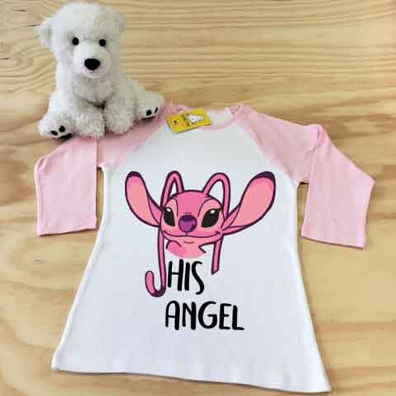 white and pink his angel ladies fitted raglan