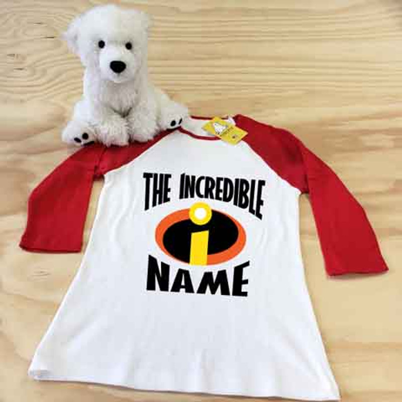 white and red incredibles ladies slim fitted raglan