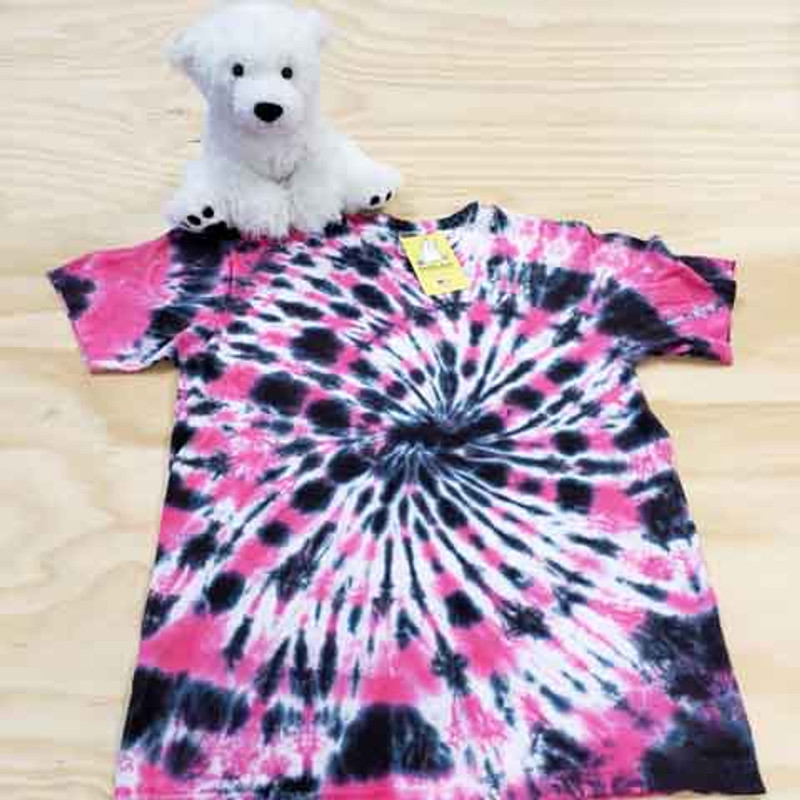 Black and pink spiral tie dye adult shirt