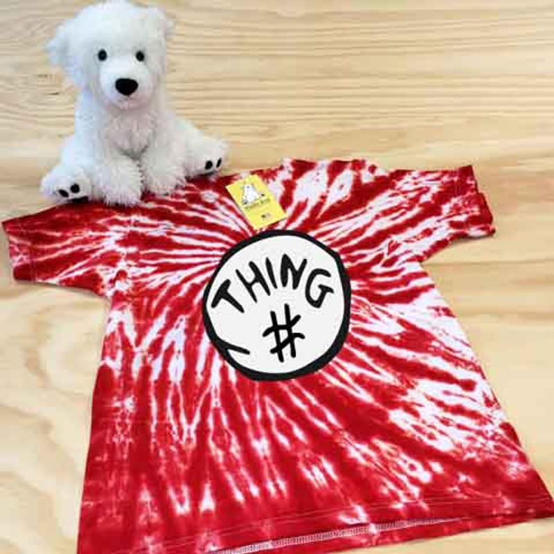 Red and white thing themed tie dye shirt