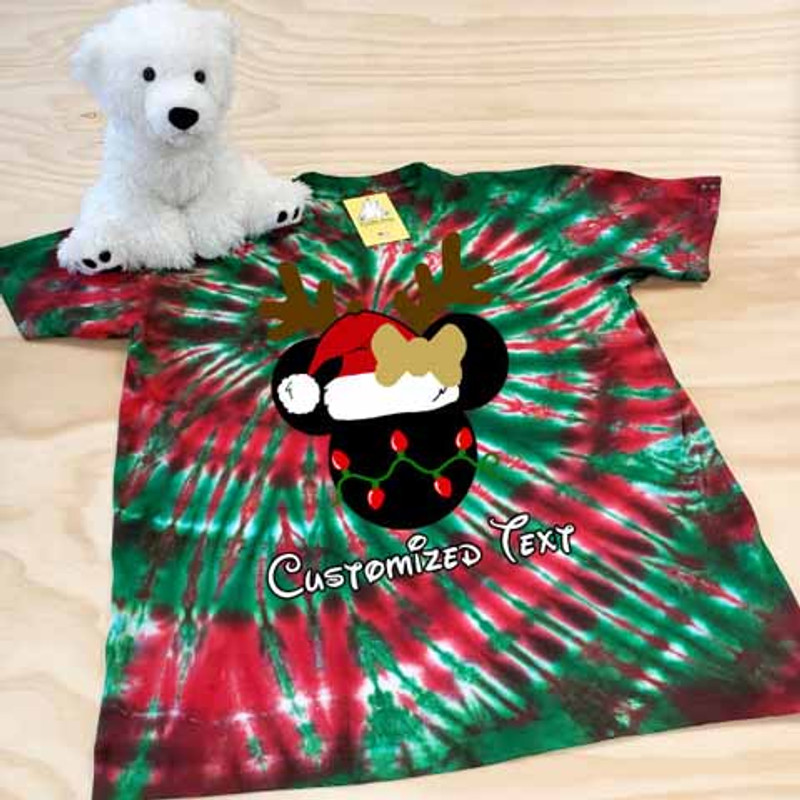 Red and green tie dye classic christmas minnie adult shirt