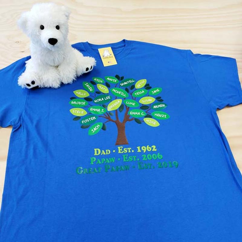 Family Tree Full Color Shirt - Royal Blue - Great Grandpa - Papaw - Dad