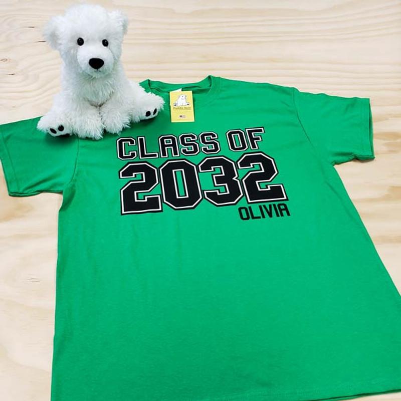 Green class of 2032 varsity adult shirt