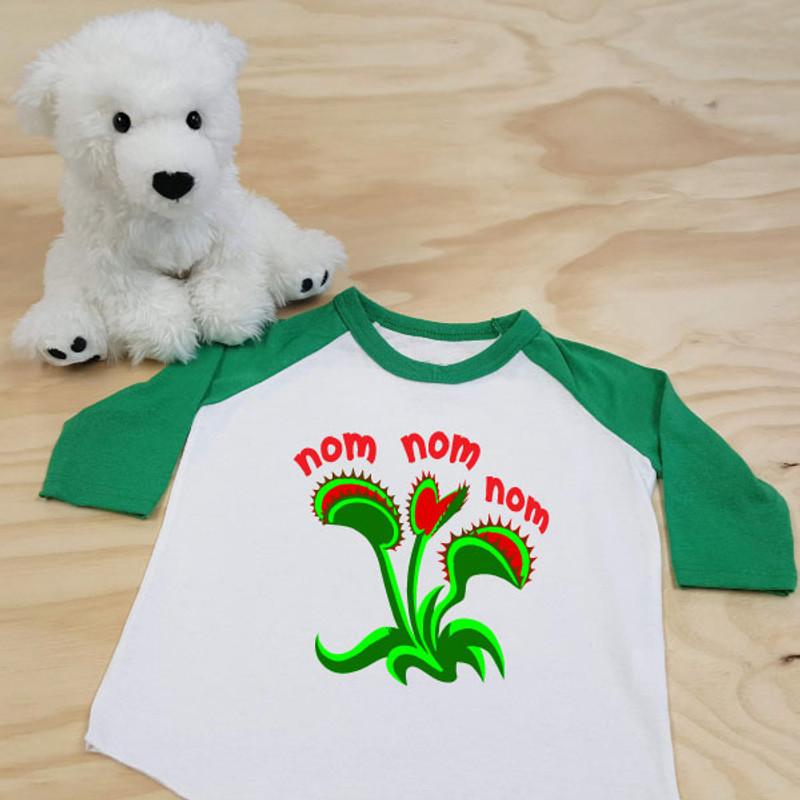 Venus Fly Trap Nom Nom Nom Toddler Raglan 3/4 sleeves