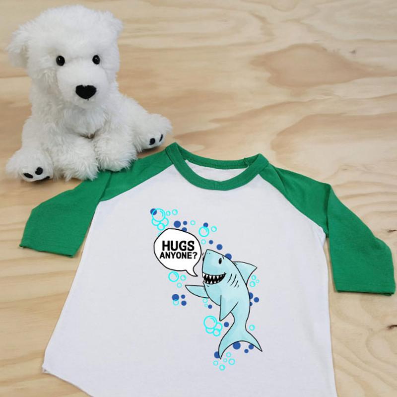 Green and White Hugs Anyone? Shark Toddler Raglan 3/4 Sleeves