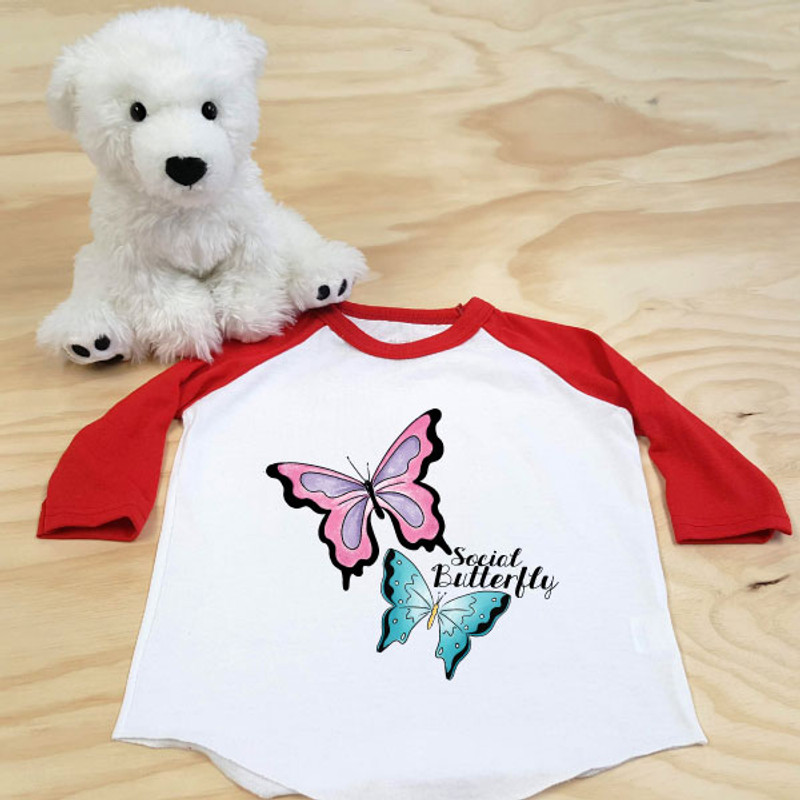 Red and White Social Butterfly Toddler Raglan 3/4 Sleeves
