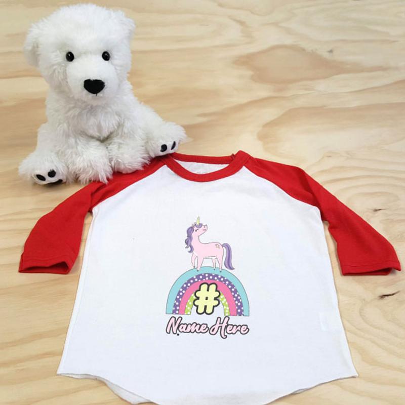 Red and White Unicorn Rainbow Toddler Raglan 3/4 Sleeves
