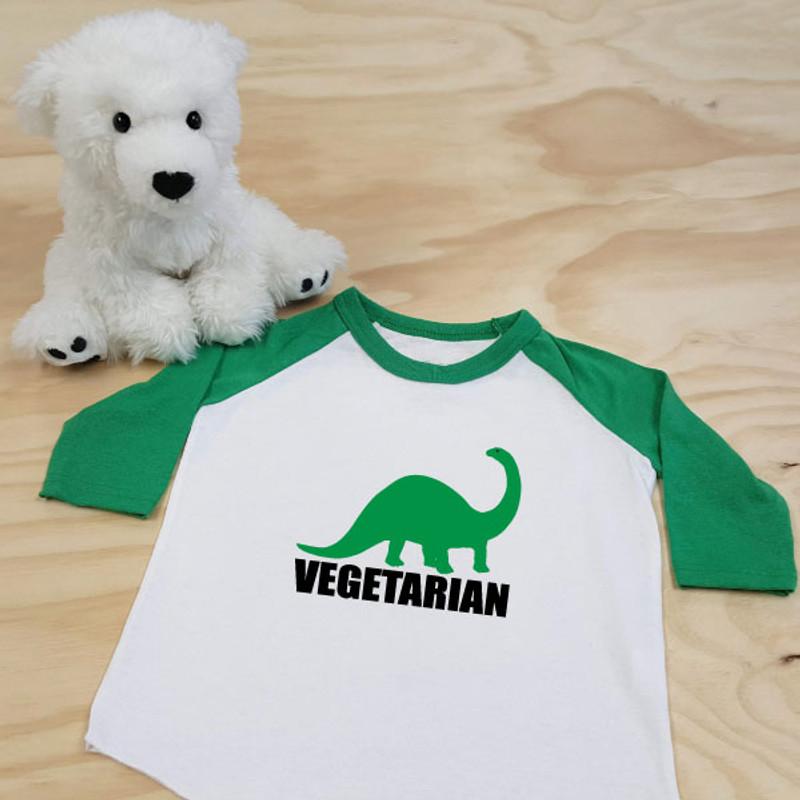 Green and White Vegetarian Brontosaurus Dinosaur Toddler Raglan 3/4 Sleeves