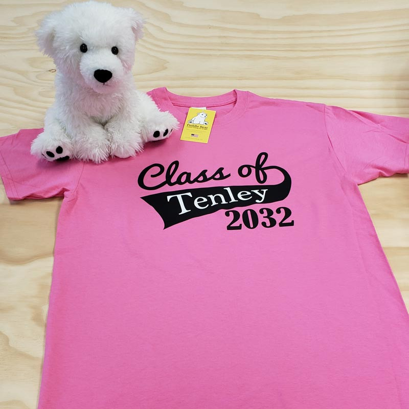 Pink class of flag with name and year adult shirt
