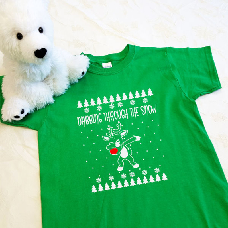 dabbing reindeer green kids shirt