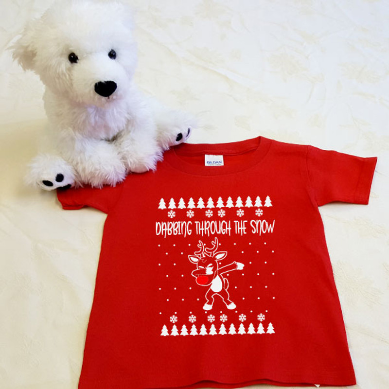 dabbing reindeer red toddler shirt