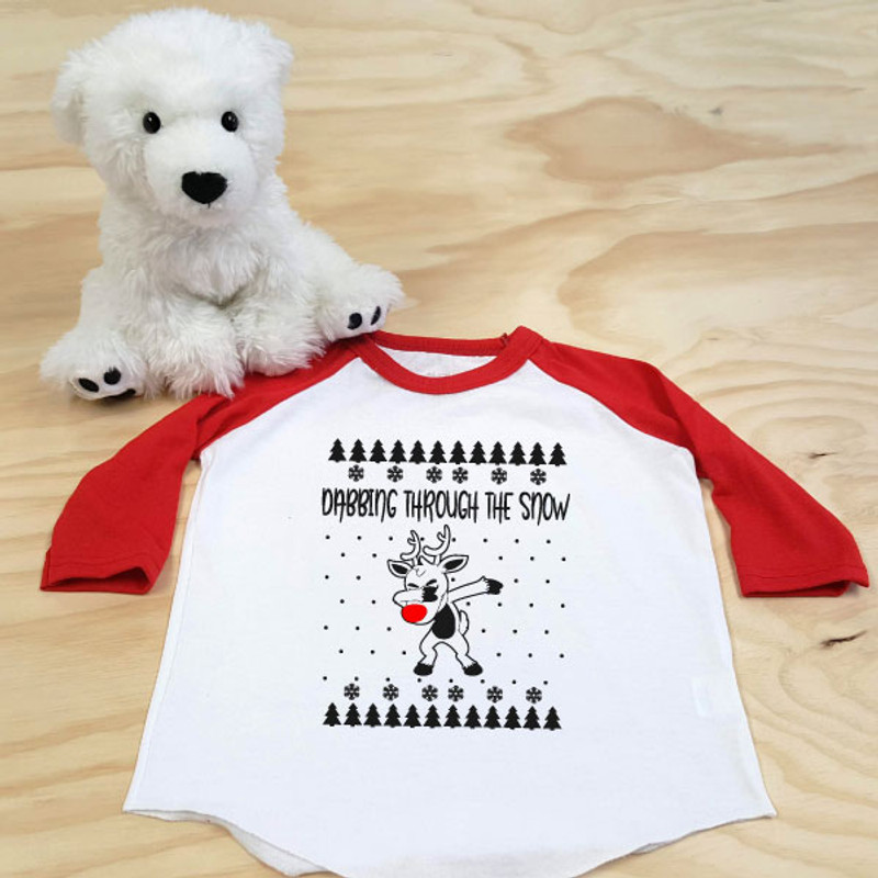 dabbing reindeer red and white toddler 3/4 sleeve raglan
