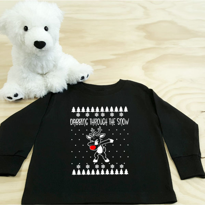 dabbing reindeer black toddler long sleeve shirt