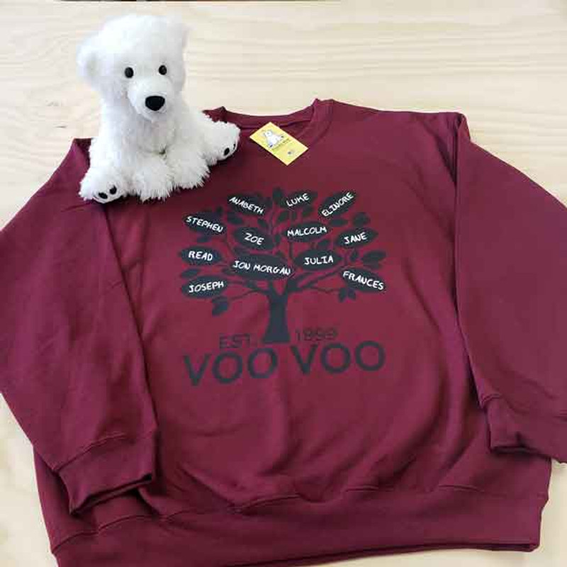 Custom Family Tree Sweatshirt - Maroon - Grandma - Voo Voo
