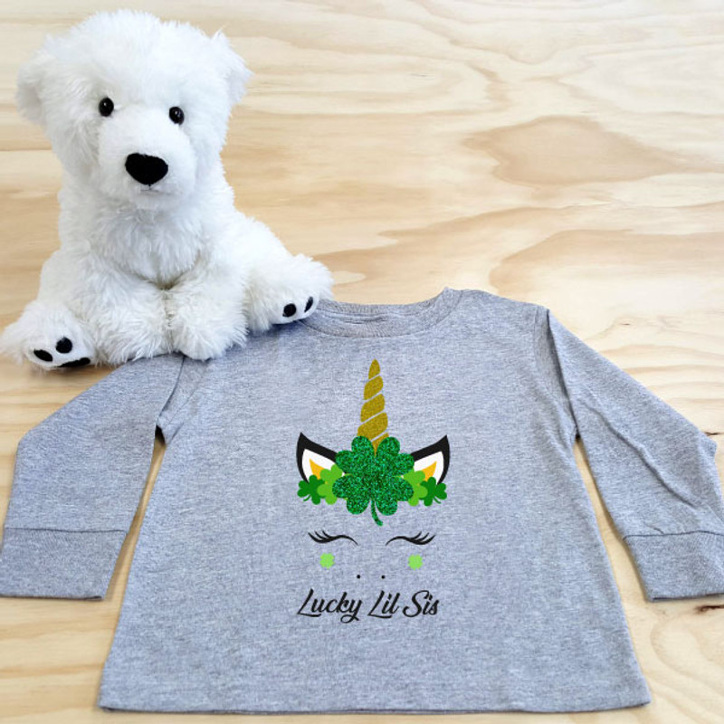 St Patrick's Day Unicorn Crown Toddler Long Sleeve Shirt SAMPLE