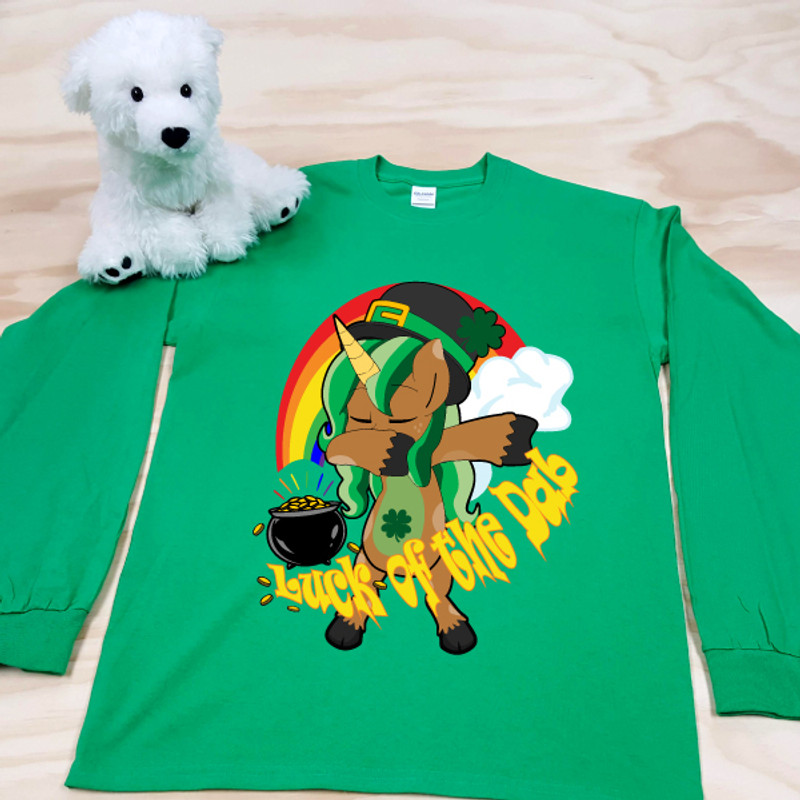 Green Luck of the Dab Kids Long Sleeve Shirt