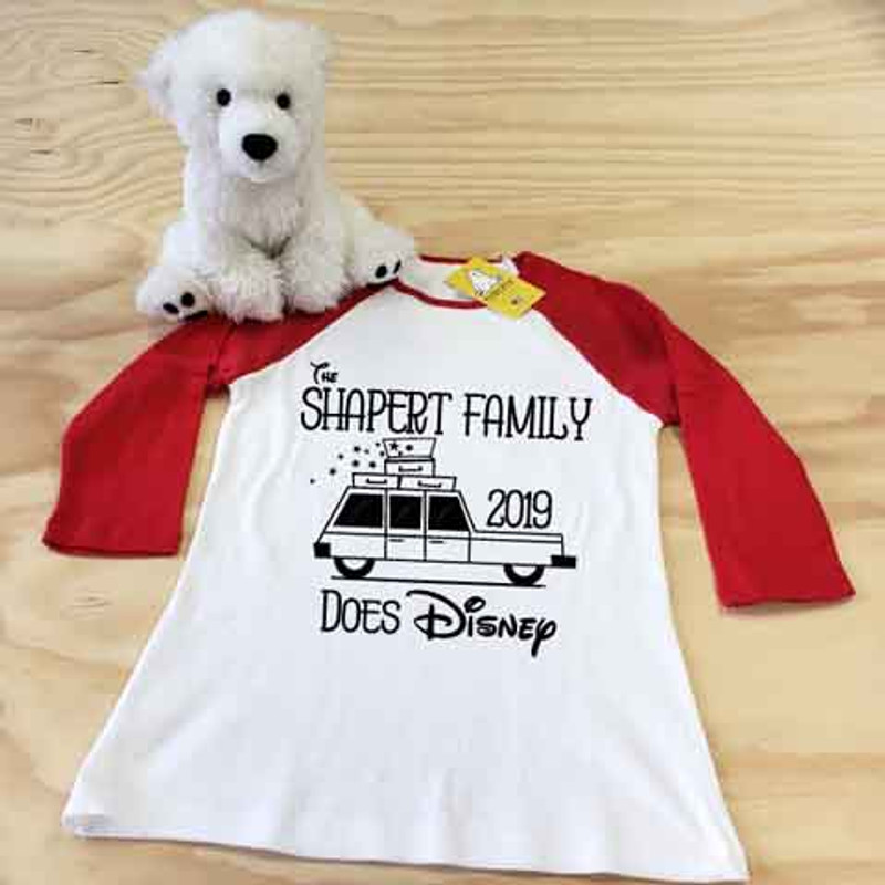 white and red your family does disney ladies slim fitted raglan sample