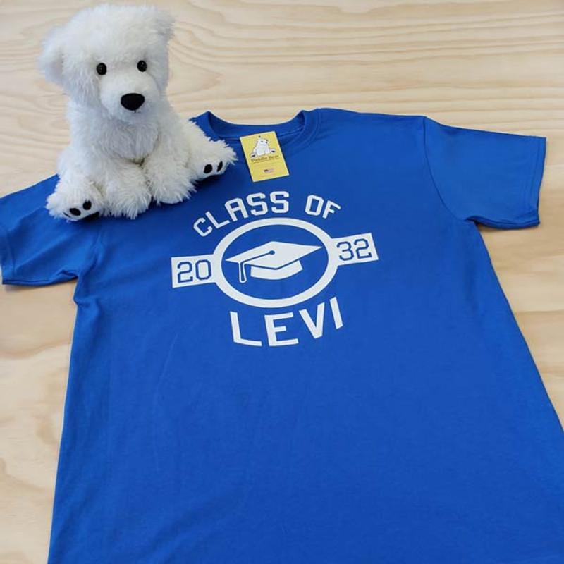 Royal blue graduation cap in circle adult shirt