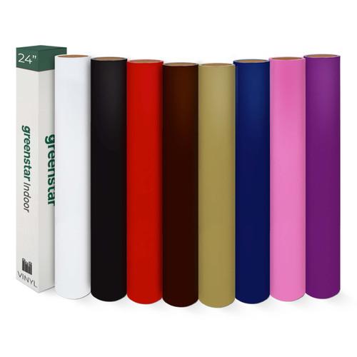 """GreenStar Indoor 8 Color Bundle 24"""" x 5yds Rolls- Matte Removable Vinyl"""