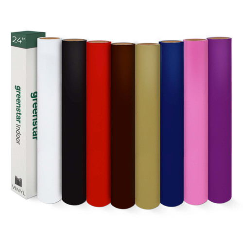 "GreenStar Indoor 8 Color Bundle 24"" x 5yds Rolls- Matte Removable Vinyl"