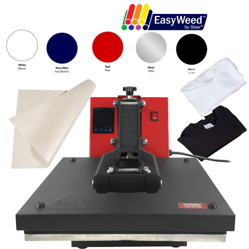"15"" x 15"" Clamshell Starter Heat Press Kit + Siser EasyWeed + TShirts"