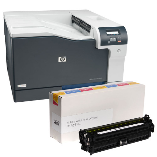 "HP Color LaserJet CP5225dn Printer with Ghost White Toner, 11"" x 17"" Tabloid Print Size"