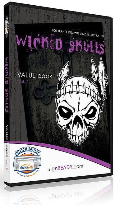 Wicked Skulls Vector Clip Art - Volume 2