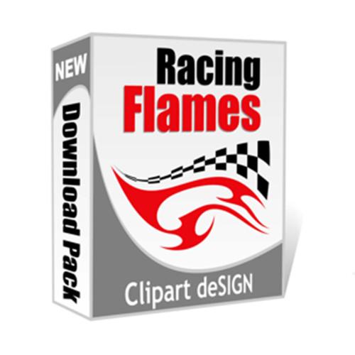 Racing FLAMES, Vector Clip Art for Vinyl Cutting