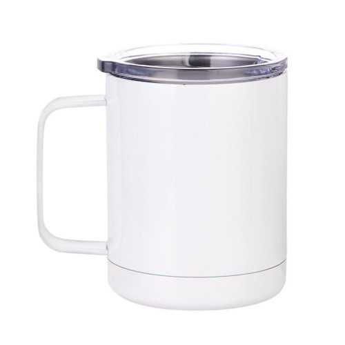 Stainless Steel Coffee Cup with Lid Dye Sublimation Blank - 10oz White