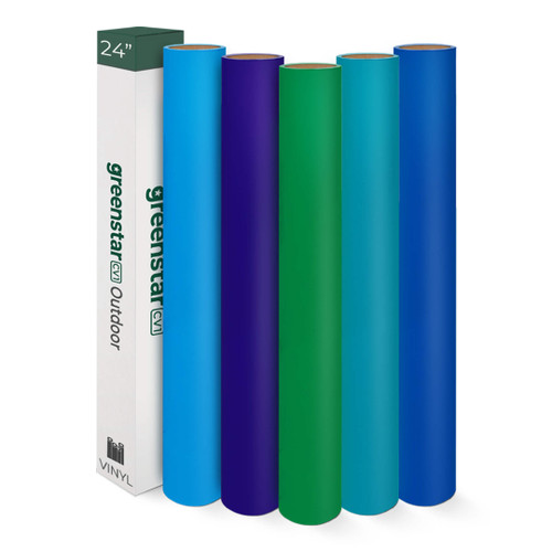 """GreenStar 5-Color Outdoor Vinyl Starter Packs, 24"""" x 10 Yard Rolls"""
