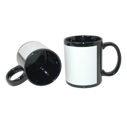 15oz Sublimation Black Mug with White Patch - Case of 36 Dye Sublimation Mug Blanks