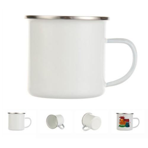 12oz Stainless Steel Camp Mug, White Enamel Dye Sublimation Blank