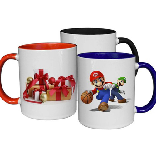 11oz. Dye Sublimation Inner Colored Coated Mugs - Case of 36 - Red, Black or Blue Inner Colors