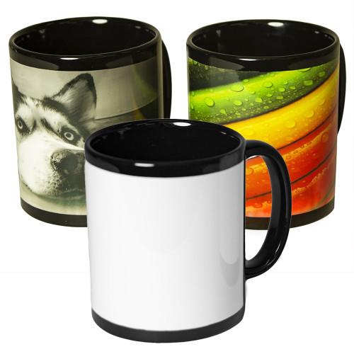 11oz Sublimation Black Mug with White Patch - Case of 36 Dye Sublimation Mug Blanks