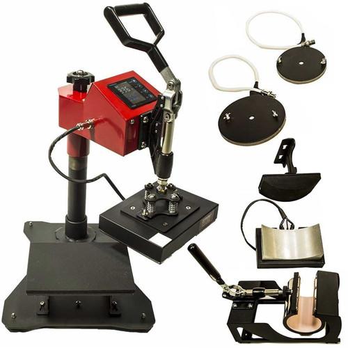"5-in-1 Heat Press 6"" x 8"" Swing Arm, Mug, Cap & Plate Press"