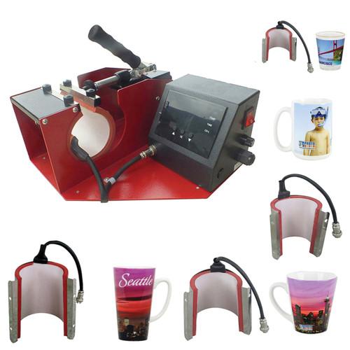 5-in-1 Mug Press, Standard Coffee Mug, Latte & Shot Glass Attachments