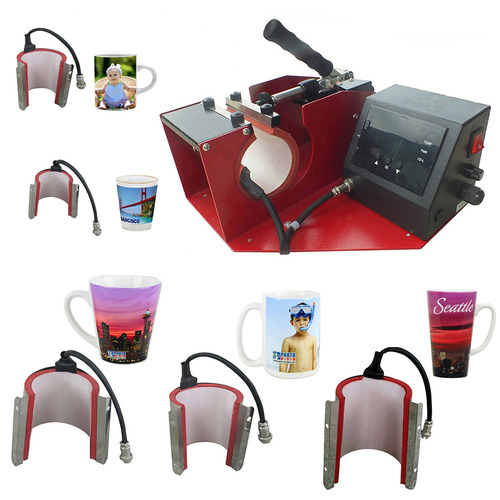 6-in-1 Mug Press, Standard Coffee Mug, Latte Mug & 1.5 oz Shot Glass & 2.5oz Mug Attachments