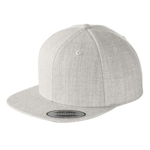 Heather Grey Baseball Hat Blank Structured Flat Bill Snapback Cap