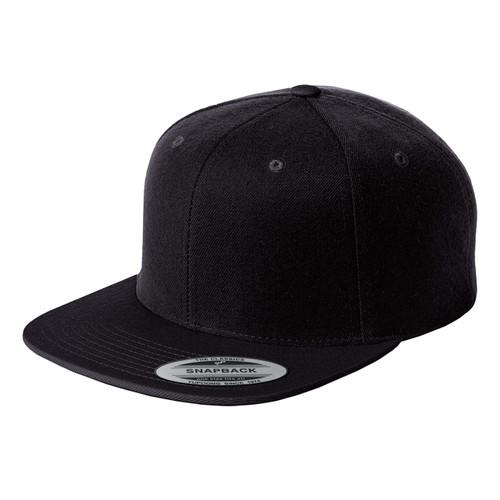 Black Baseball Hat Blank Structured Flat Bill Snapback Cap