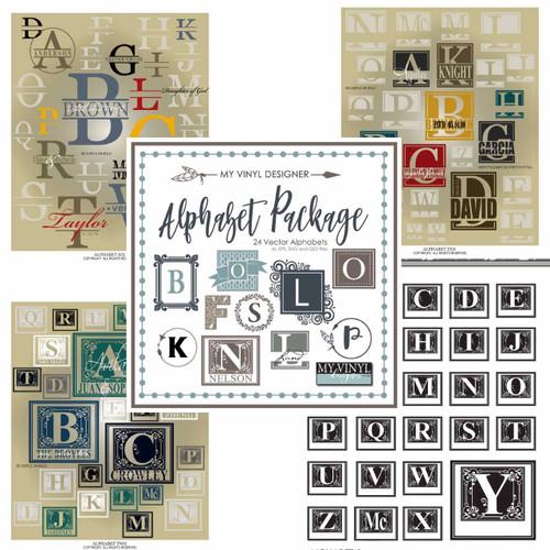 Alphabet Design SVG Letter Vector Art Package, Vector Vinyl Lettering for Vinyl Cutting