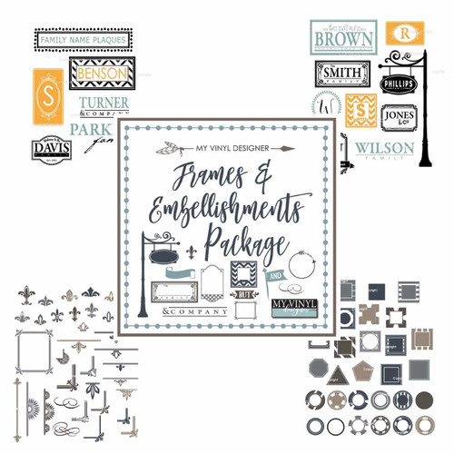 Frame & Embellishments Vector Clipart USB Package for Sign & Stencil Cutting