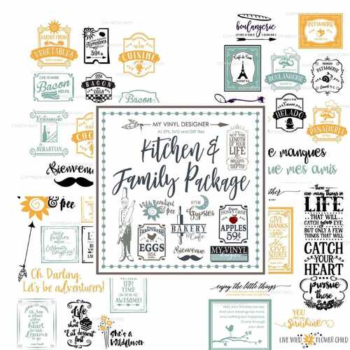 Kitchen and Family Vector Art Images Package on USB