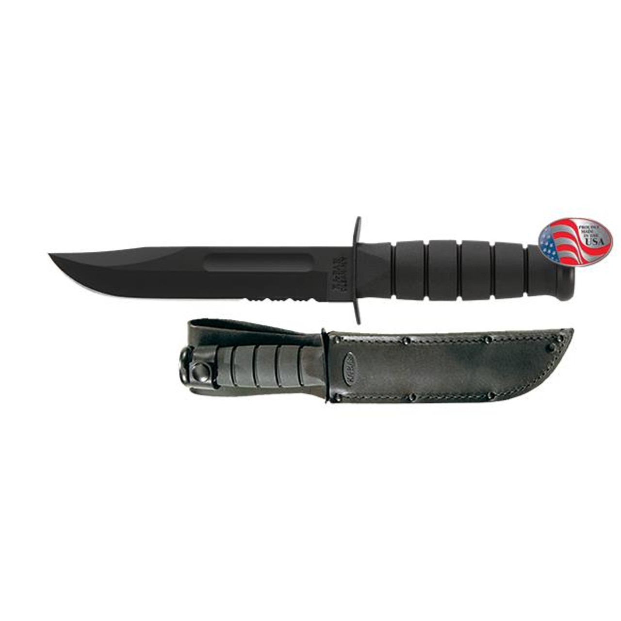 Full-size Black KA-BAR, Serrated Edge #1212 - GameMasters Outdoors