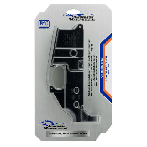 Anderson AR-15 Stripped Lower Receiver Multi-Caliber Black Hardcoat Anodized - 712038921676