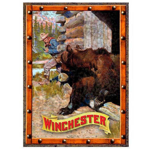 Winchester Cowboy and Grizzly Bear Tin Sign #W1020 - 803221010205