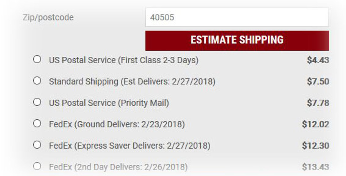 New Lower Shipping Rates - Calculated Real Time!