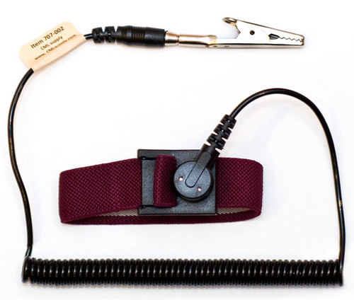 ESD Safe Anti Static Wrist Strap 6ft Ground Cord - Maroon