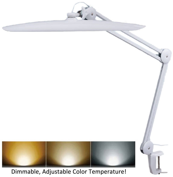 TekLine 39501CT Desk Clamp LED Task Lamp Adjustable Color Dimmable