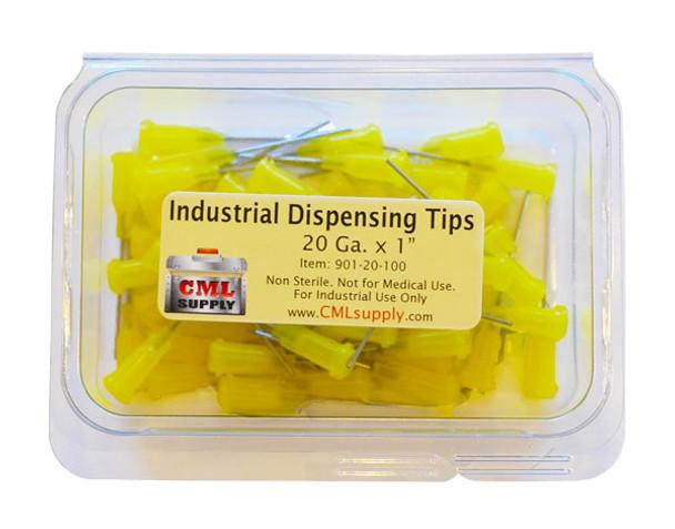 "CML Supply 20ga x 1.0"" Yellow Blunt Tip Dispensing Fill Needles"