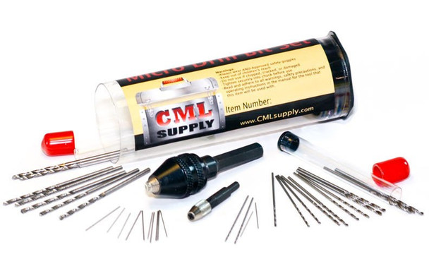 CML Supply Mini Micro Drill Bit Set with Micro Drill Chuck 32pcs